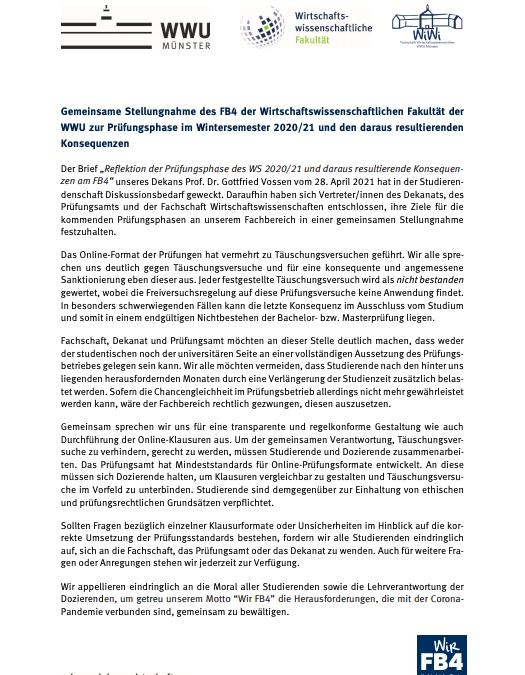 Stellungnahme Prüfungsphase WS 2020/21
